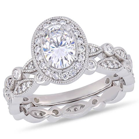Moissanite by Miadora 10k White Gold Oval and Round-Cut Moissanite Halo Infinity Bridal Set