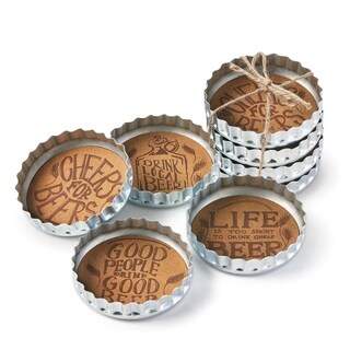 TAG Bottle Cap Beer Coaster Set Of 4 Silver