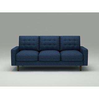US Pride Furniture Ruthe Blue Matte Velvet and Wood Mid-century Modern Sofa