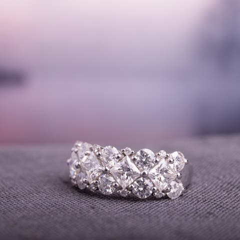 Miadora 3 1/10ct DEW Princess-cut Moissanite & 1/10ct TDW Diamond Anniversary Band in 10k White Gold