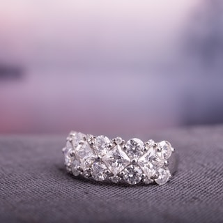 Link to Miadora 3 1/10ct DEW Princess-cut Moissanite & 1/10ct TDW Diamond Anniversary Band in 10k White Gold Similar Items in Rings