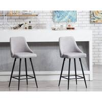 Sanas upholstered Dining Bar Chairs, Set of 2 Full Back Stool Chairs Grey