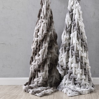 """Amrapur Overseas Faux Fur Braided Reverse To Flannel Throw - 50"""" x 60"""""""