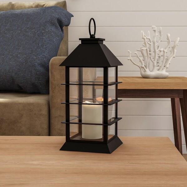 Flameless Candle Modern Grid Lantern Color Changing LED Pillar Lavish Home