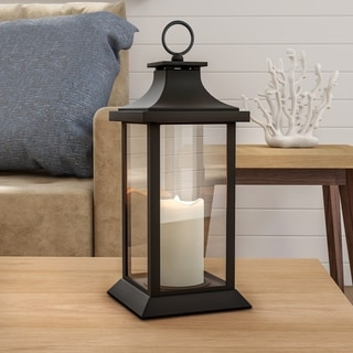 Flameless LED Pillar Candle Lantern Modern Grid Design-Color Changing Lavish Home