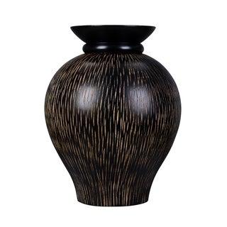 """Villacera Handmade 10"""" Mango Wood Black Decorative Urn Vase"""