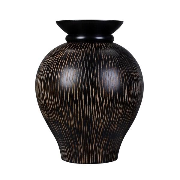 Shop Villacera Handmade 10 Mango Wood Black Decorative Urn Vase