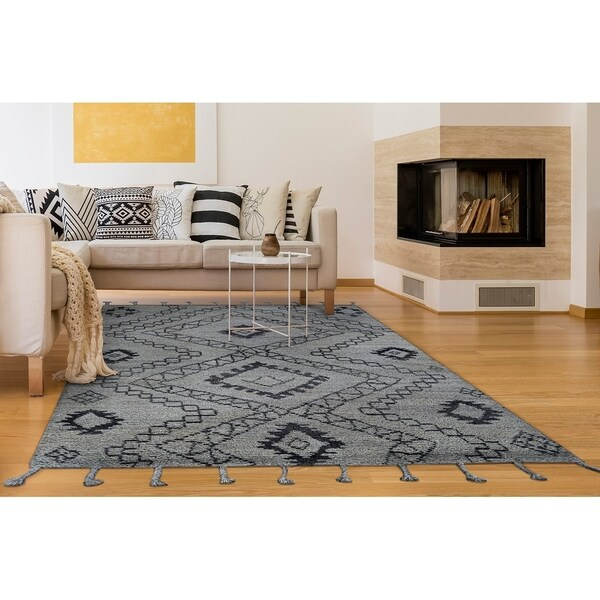 "Hand-Knotted Cusco Salkantay Gray Wool Area Rug - 5'6"" x 8'6"""