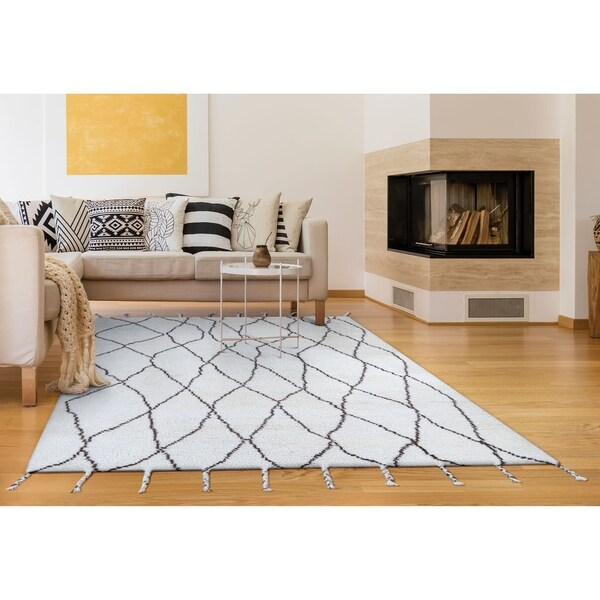 "Hand-Knotted Cusco Vinicunca Ivory Wool Area Rug - 3'6"" x 5'6"""