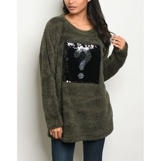 JED Women's Fleece Oversized Pull-Over Tunic Sweater