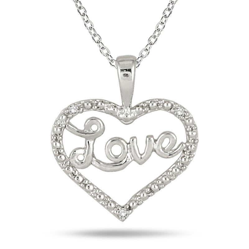 925 Sterling Silver Diamond Heart Pendant Necklace Chain SOLID SILVER Jewelry