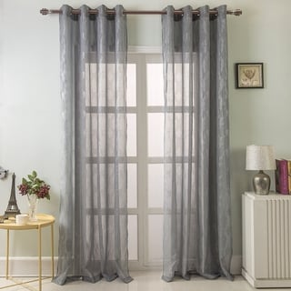 "RT Designers Reagan Metallic Quatrefoil Doily 84 Inch Grommet Single Curtain Panel - 54"" w x 84"" l"