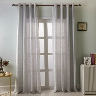 "RT Designers Elton Metallic Faux Silk 90 Inch Grommet Single Curtain Panel - 54"" w x 90"" l"