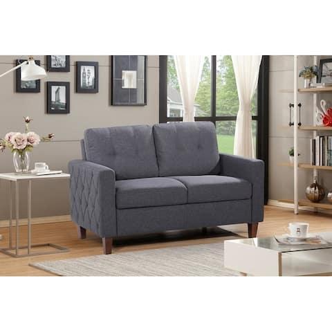 US Pride Furniture Molinari Grey Linen/Wood Tufted Loveseat