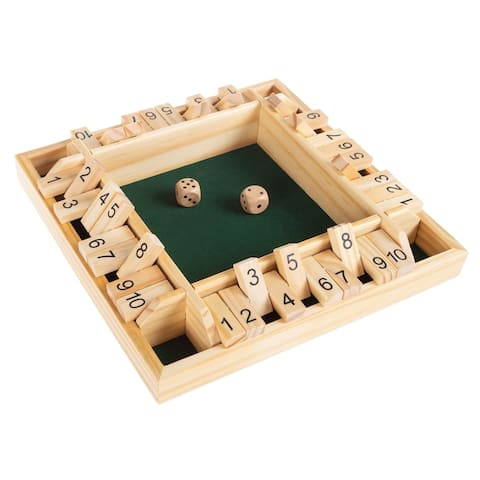 Shut The Box Game-Classic 10 Number Wooden Set with Dice by Hey! Play!