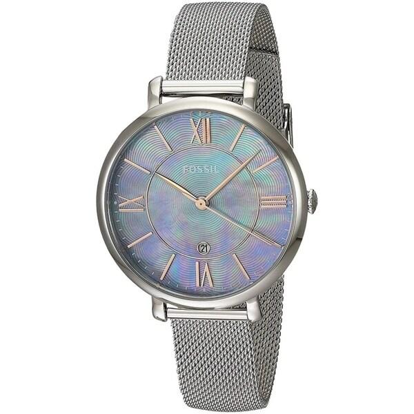 Fossil Women's ES4322 Jacqueline Silver Dial Stainless Steel Mesh Bracelet Watch