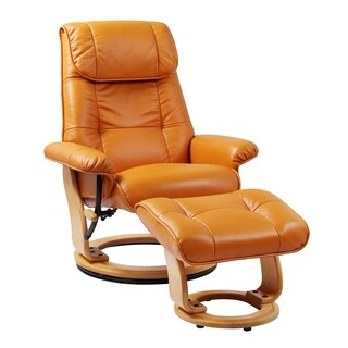 Todd Top Grain Leather Recliner and Ottoman