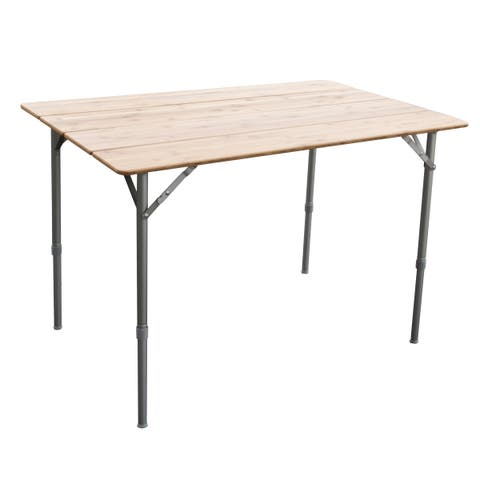 """AmeriHome 39.35""""x25.5"""" Adjustable Height Folding Table W/Carry Bag"""