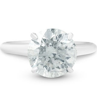 Bliss 14k White Gold 3.40ct Round Solitaire Diamond Engagement Ring Clarity Enhanced