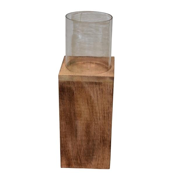 Essential Decor & Beyond Pillar Wood/Glass Tealight Holder EN14537 - 6 x 6 x 18
