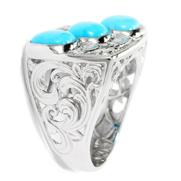 Michael Valitutti Mens Palladium Silver Kingman Turquoise 3-Stone Scrollwork East-West Ring
