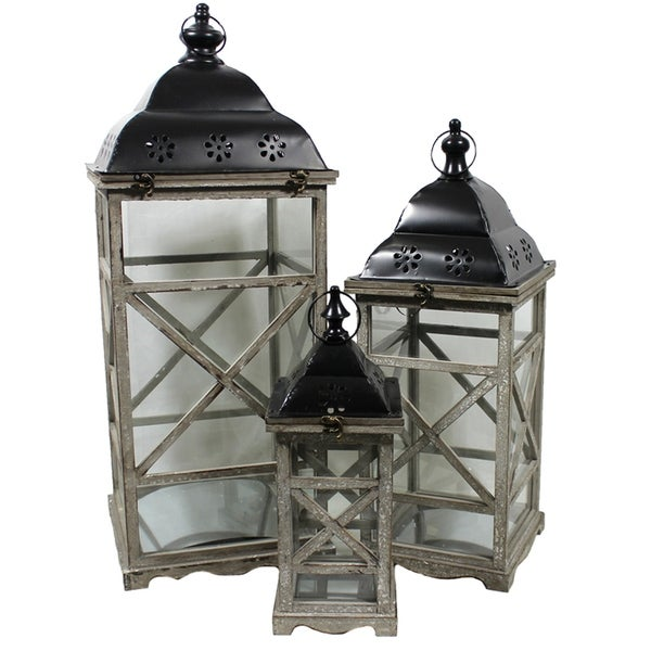 Essential Decor and Beyond Grey Wood 3-piece Lantern Set