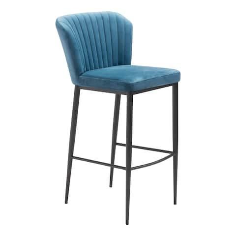 Carson Carrington Fosie Velvet & Stainless Steel Bar Chair (Set of 2)