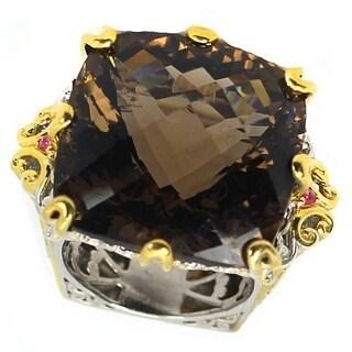 Michael Valitutti Palladium Silver Cushion Checktop Smoky Quartz & Dark Pink Sapphire Ring