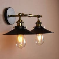 Dorothy 2-Lamp Black Hooded Wall Sconce (includes Edison bulbs)