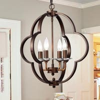 Mina 18-inch Geometric Pendant Lamp Antique Bronze Finish