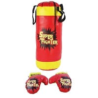 Boxing Children's Kid's Pretend Play Toy Boxing Play Set w/Stuffed Punching Bag, Pair of Soft Padded Boxing Gloves, Kids