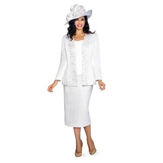 Giovanna Collection Women's Pleated Texture Laser-cut 3-piece Suit