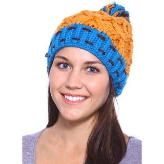 Women Fashion Fall Crochet Winter Hat Knit Beanie Cap, Orange