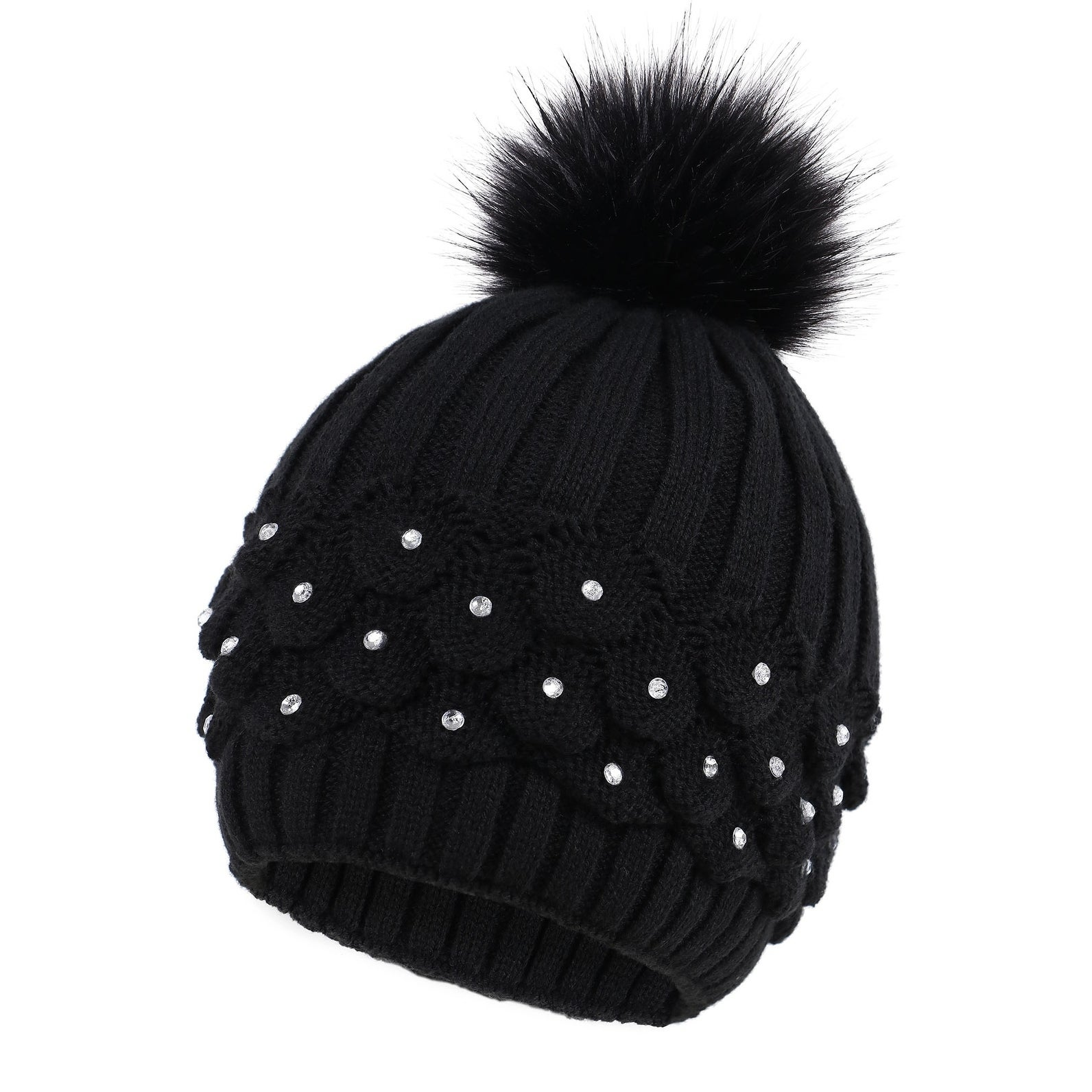 Newhattan Womens Hand Made Knitted Pom Beanie Hat
