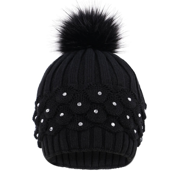 cbf963affa419 Shop Faux Fur Winter Cable Knit Pom Pom Beanie for Women w/ Sequins ...