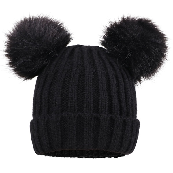 4f991f4ccbc7b9 Shop Men & Women's Cable Knit Beanie with Faux Fur Pompom Ears - On ...