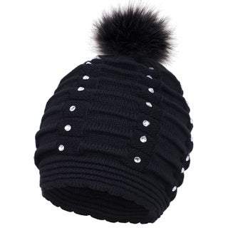 Women's Thick and Warm Knit Winter Pompom Beanie Hat w/ Sequins