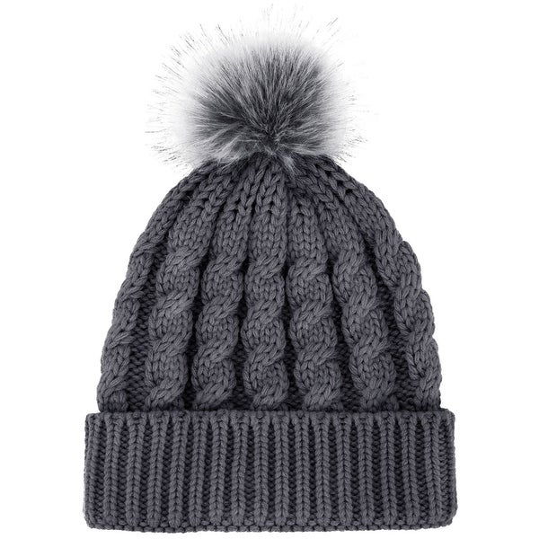 c0ac90908fe81b Shop Women Soft Warm Knitted Faux Fur Pom Pom Beanie Hat Winter ...
