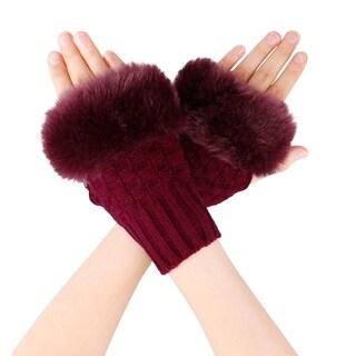 Women's Winter Faux Fur Knit Fingerless Mitten Gloves