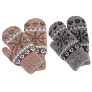 Kids Winter Mittens Boys Girls Warm Snowflake Patterned Mittens 2 Pairs