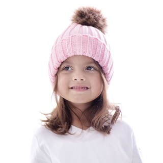 Unisex Winter Warm Cable Hand Knit Faux Fur Pom Pom Beanie Hat