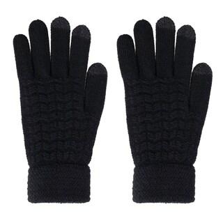 Men's Cable Knit 3 Finger Touchscreen Sensitive Winter Gloves