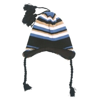 Kids Girls Boys Winter Warm Multipatterned Knitted Flap Pompom Beanie