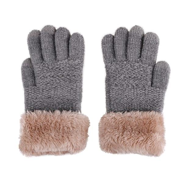 Polar Extreme Kids Jacquard Print Mittens with Fur Cuff Gray
