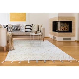 "Hand-Knotted Cusco Paracas Cream Wool Area Rug - 3'6"" x 5'6"""