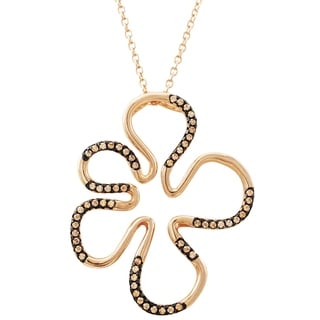Link to Luxiro Sterling Silver Two-tone Finish Champagne Cubic Zirconia Open Flower Pendant Similar Items in Necklaces