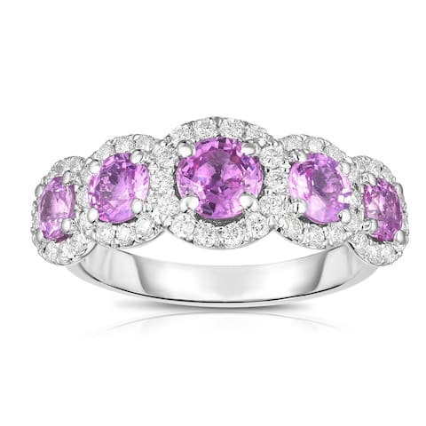 Noray Designs 14K White Gold Pink Sapphire & Diamond (0.50 Ct, G-H Color, SI2-I1 Clarity) Ring
