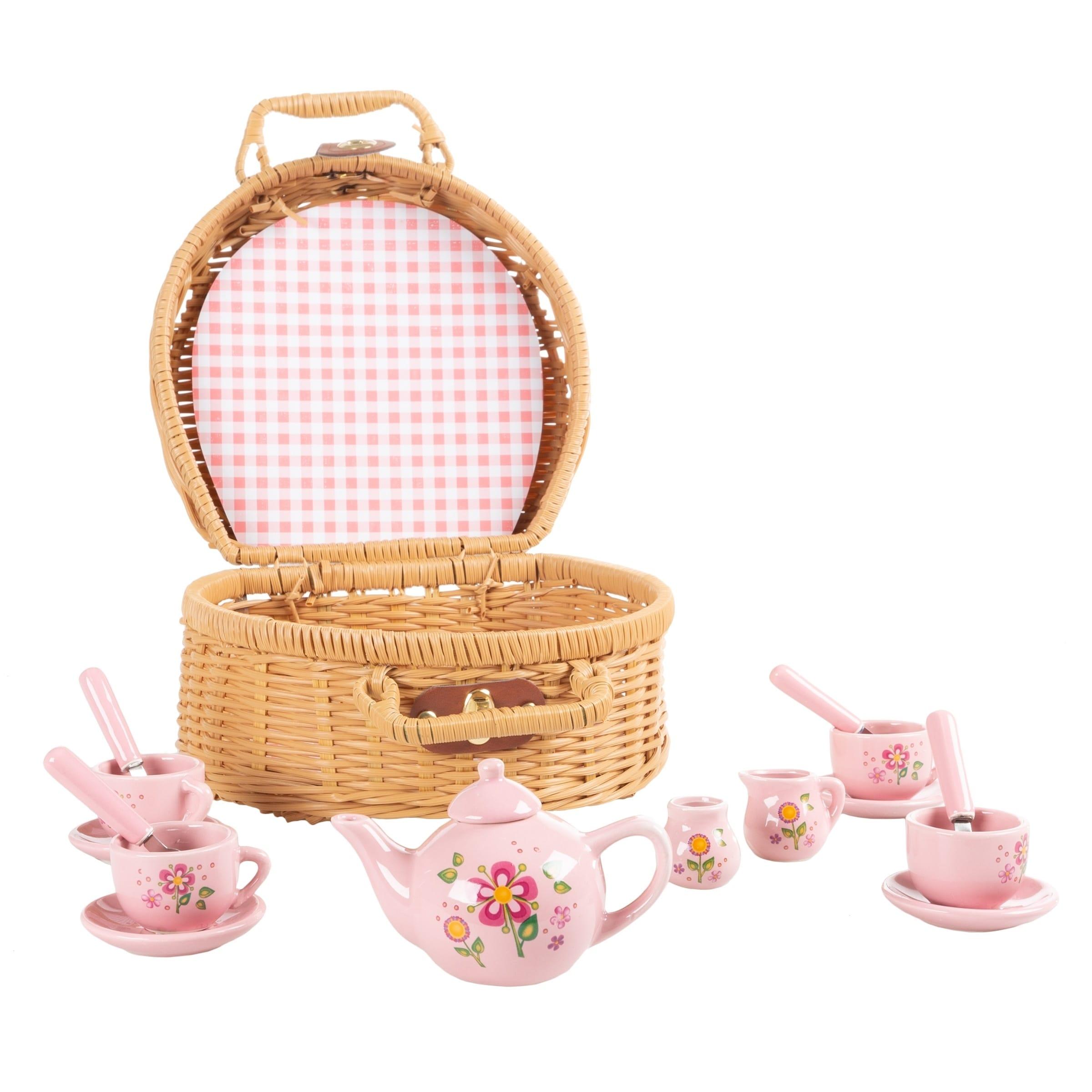 Wood High Tea Toy Set Girl Princess Afternoon Tea Kid Pretend Play Cup Dish Set