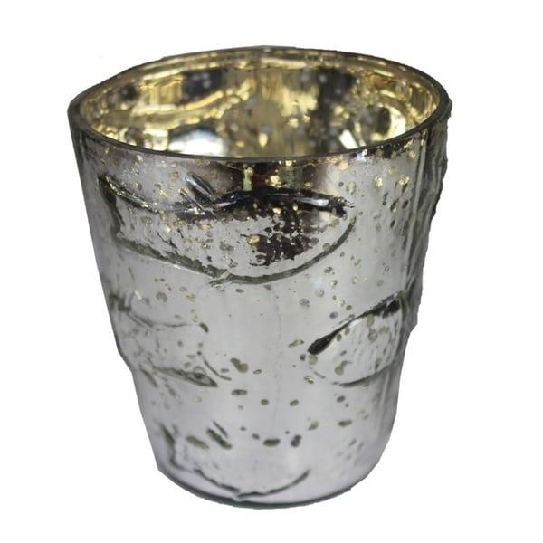 Essential Decor & Beyond Silver Embossed Glass Votive EN14225 - 4.33 x 7.08 x 18.89
