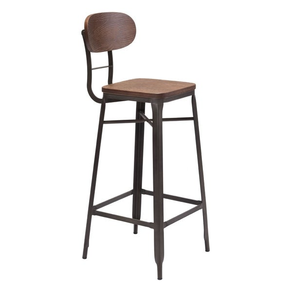 Broadway Brown and Black Metal and Wood Bar Chair (Set of 2)